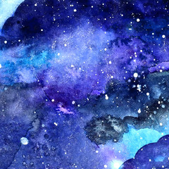 Watercolor vector space texture with  stars.