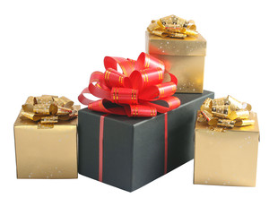 Black and gold boxes with bow