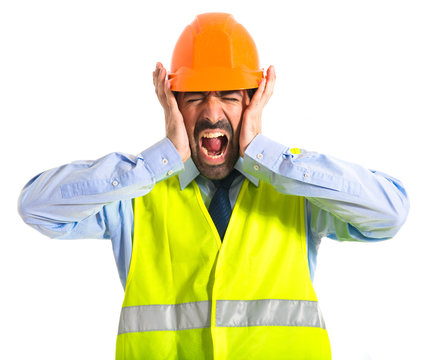 frustrated worker over white background