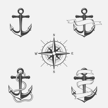 Set of vintage patterns on nautical theme.