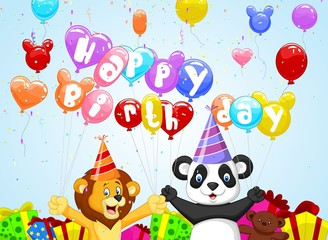 Birthday background with lion and panda