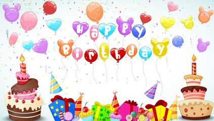 Birthday background with colorful balloon and birthday cake