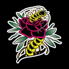 Illustration of caterpillar on a flower