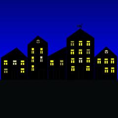 Night city-black houses with lit windows