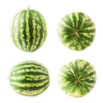 Ripe green watermelon fruit isolated