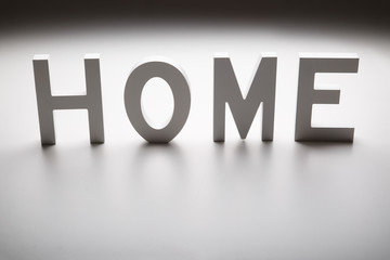 the word home written in white wooden letters