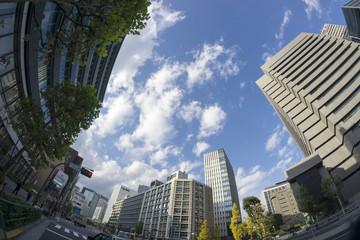 溜池山王 特許庁前の街並を見上げる