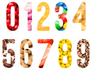 Food Alphabet Numbers Isolated On White