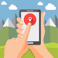 Smartphone geo check-in of mountain landscape - flat design