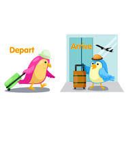 cute birds with opposite words