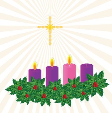 advent candle on starburst