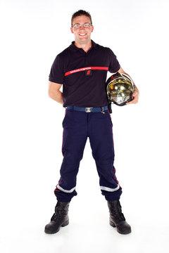 pompier en uniforme sur fond blanc