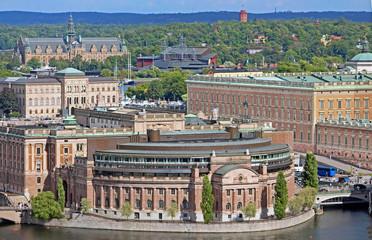 Aerial view of Riksdag (parliament) building, Stockholm, Sweden