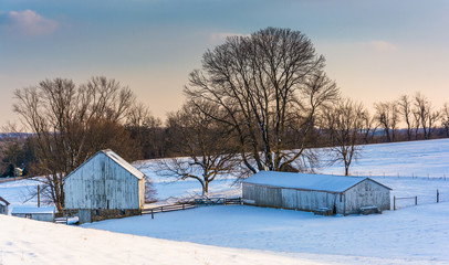 Snow-covered farm in rural Carroll County, Maryland.