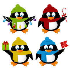 Set of funny cartoon Xmas penguins