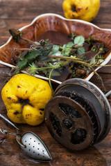 herbal,homemade custard tea with quince