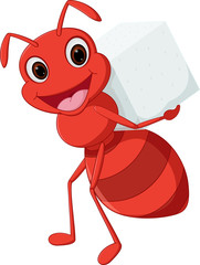 Happy ant cartoon carrying sugar