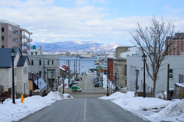 Hachimanzaka and the port of Hakodate in the city of Hakodate, H