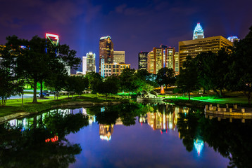 The Charlotte skyline seen at Marshall Park, in Charlotte, North