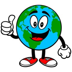 Earth Mascot with Thumbs Up