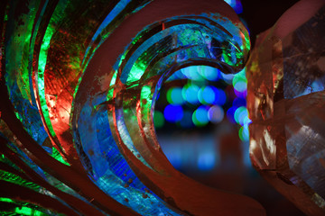 Ice sculpture close up at night