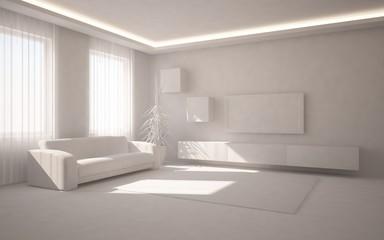 grey 3d interior design