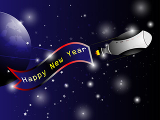 spaceship Happy new year background