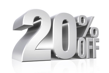 3D render silver text 20 percent off.