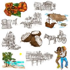 Jamaica Travel - Full sized hand drawn pack on white
