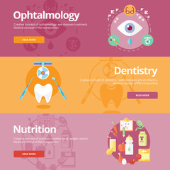 Flat design concepts for ophtalmology, dentistry, nutrition.