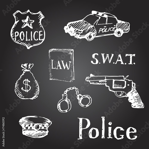 Set Of Hand Drawn Police Symbols Vector Illustration Stock Image