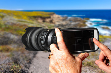 Cell Phone with a Telephoto Lens Attached