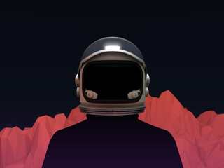 Astronaut with Mars Mountain Landscape