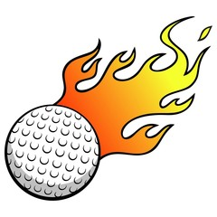 Golf Ball with Flames
