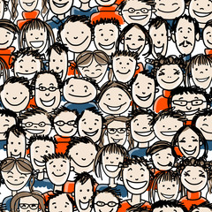 Seamless pattern with people crowd for your design
