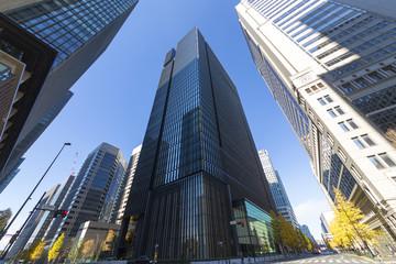 丸ノ内 高層ビル街を見上げる    超広角撮影