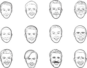 whiteboard drawing - cartoon avatar smiling men heads