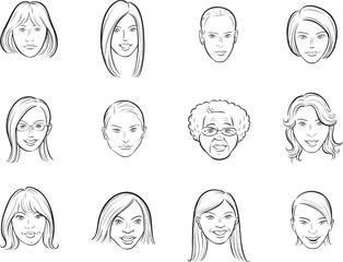 whiteboard drawing - cartoon avatar beautiful women faces
