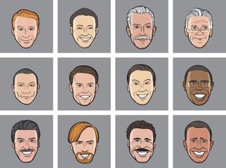 Cartoon avatar smiling men heads