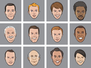 Cartoon avatar smiling men faces
