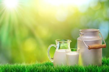 Fresh organic milk. Nature background.