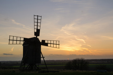 Old windmill at twilight