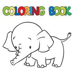 Coloring book of little funny elephant or jumbo