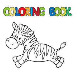 Coloring book of little zebra