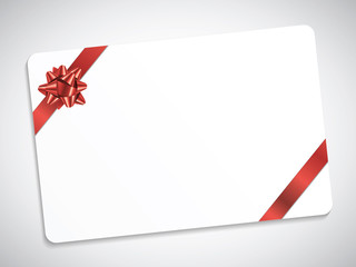 GIFT CARD WITH BOW (vector red Christmas present ribbon)