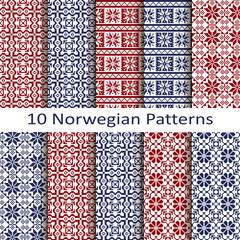 set of ten norwegian patterns