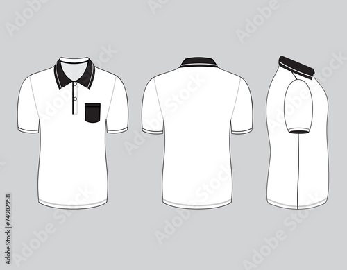 Polo Shirt Design Templates (Front, Back And Side Views). Vector
