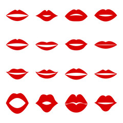 Set of red lips, vector illustration