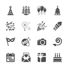 new year party icon set 5, vector eps10