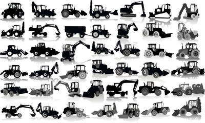 Set of 41 silhouettes of a tractors of road service